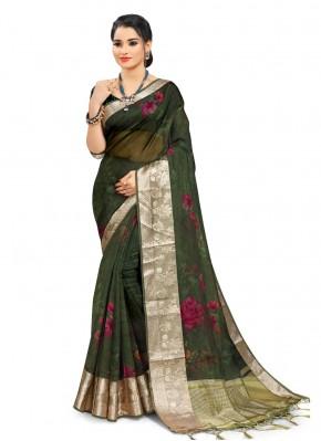Green Organza Digital Print Printed Saree