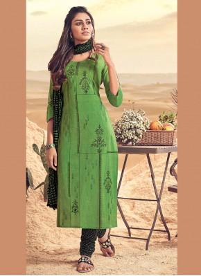Green Party Polly Cotton Salwar Kameez