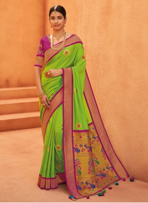 Green Party Silk Traditional Saree
