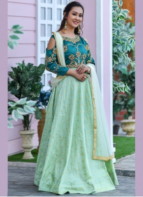 Green Party Silk Trendy Gown