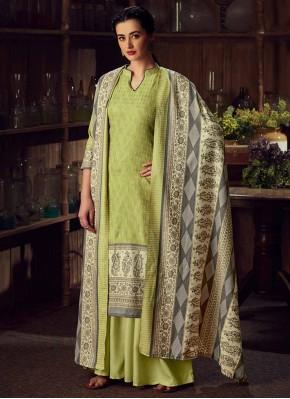 Green Pashmina Casual Designer Salwar Kameez