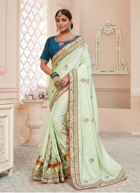 Green Patch Border Silk Designer Traditional Saree