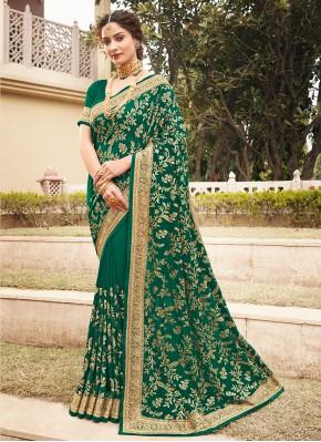 Green Patch Border Vichitra Silk Designer Saree