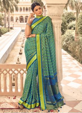 Green Print Ceremonial Designer Traditional Saree
