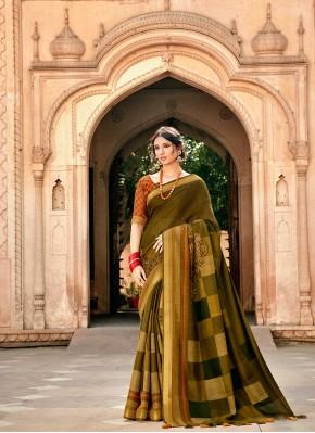 Green Print Cotton Classic Saree