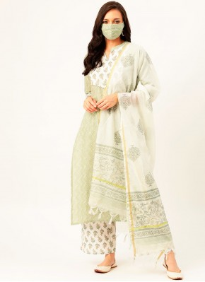 Green Print Cotton Readymade Suit