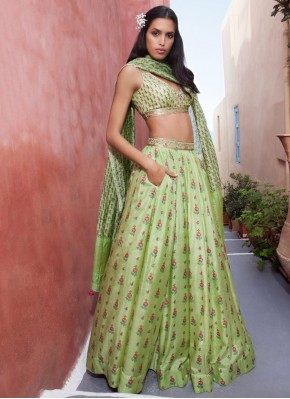 Green Print Readymade Lehenga Choli