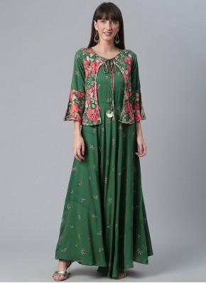 Green Printed Designer Kurti