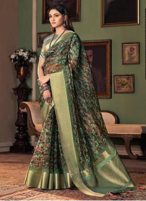 Green Printed Designer Traditional Saree
