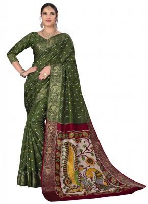 Green Printed Festival Designer Traditional Saree