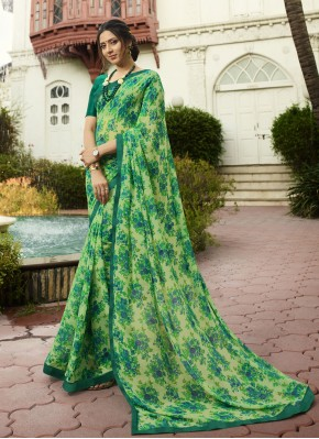 Green Printed Georgette Traditional Saree