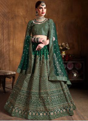 Green Raw Silk Embroidered Lehenga Choli