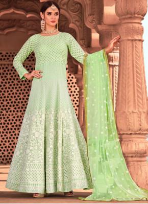Pista Green Resham Viscose Readymade Salwar Suit