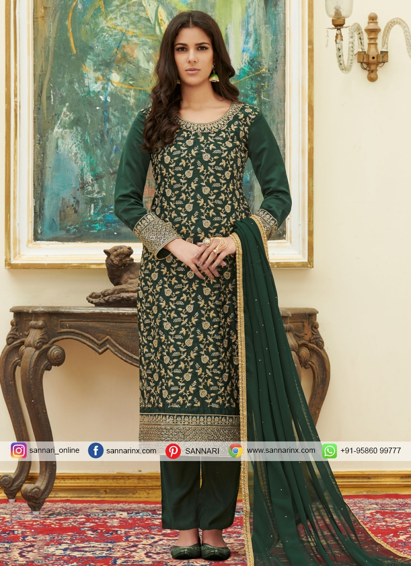 Green Satin Pant Style Suit