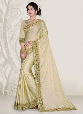 Green Satin Patch Border Classic Designer Saree