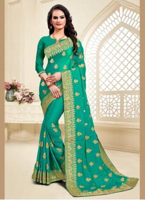 Green Satin Silk Reception Classic Saree