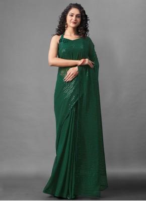 Green Sequins Designer Saree