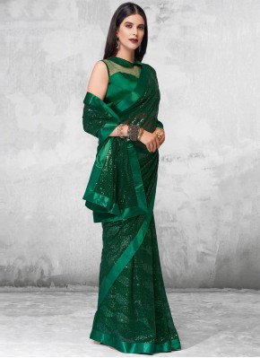 Green Sequins Engagement Designer Saree