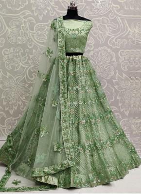 Green Sequins Lehenga Choli