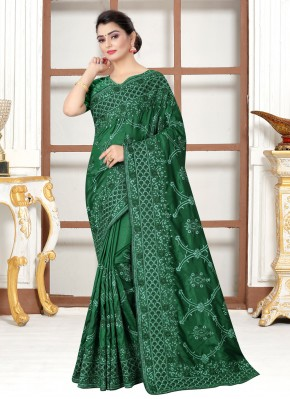Green Silk Embroidered Traditional Saree