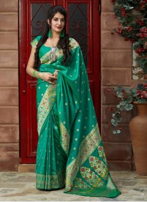 Green Silk Reception Contemporary Saree