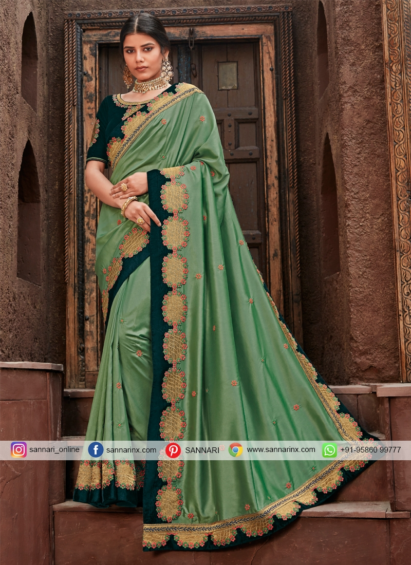 Green Silk Wedding Traditional Saree