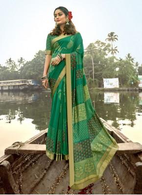 Green Vichitra Silk Foil Print Classic Designer Saree