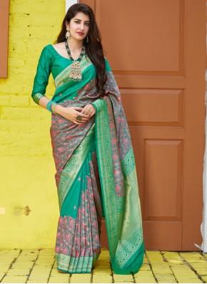 Green Weaving Festival Traditional Saree
