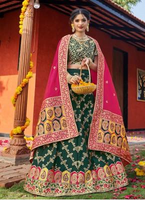 Green Weaving Mehndi Lehenga Choli