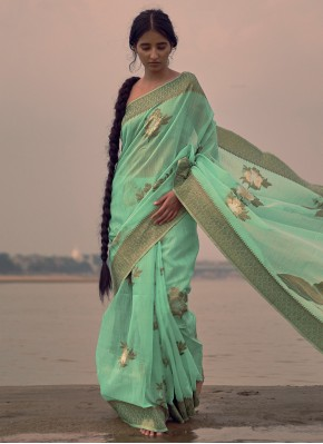 Green Weaving Party Classic Saree
