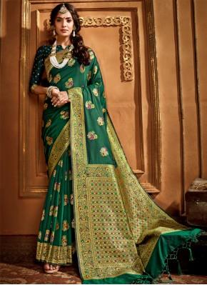 Green Weaving Silk Contemporary Style Saree