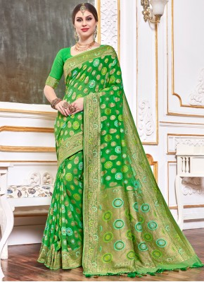 Green Weaving Viscose Designer Bollywood Saree