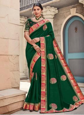 Green Wedding Georgette Satin Contemporary Saree