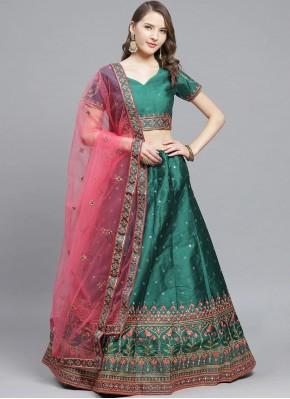 Green Wedding Silk Designer Lehenga Choli