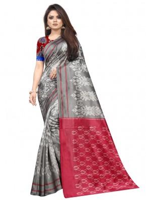 Grey Abstract Print Raw Silk Traditional Saree
