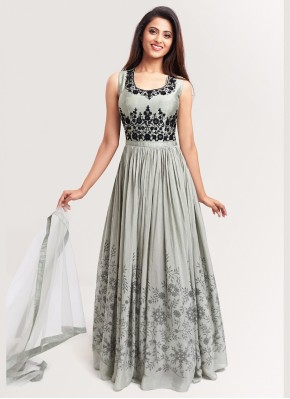 Grey Anarkali Suit in Chiffon