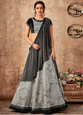 Grey and Black Jacquard Designer Lehenga Saree with Frill Border