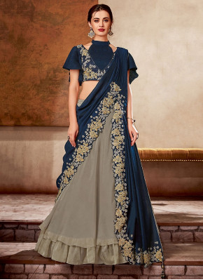 Grey and Blue Georgette Silk Designer Lehenga Saree with Cutwork Floral Border