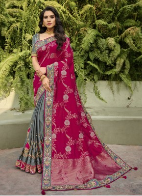 Grey and Magenta Resham Banarasi Silk Half N Half  Saree