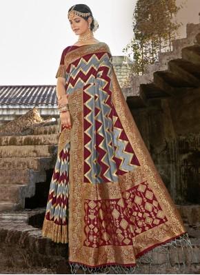 Grey and Maroon Weaving Banarasi Silk Designer Traditional Saree