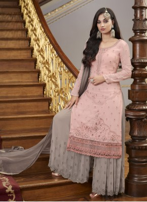 Grey and Pink Ceremonial Faux Georgette Designer Pakistani Suit