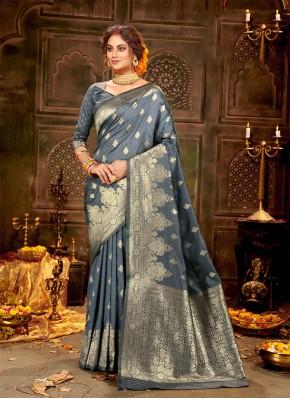 Grey Banarasi Silk Ceremonial Traditional Saree