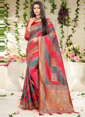 Grey Banarasi Silk Engagement Designer Traditional Saree