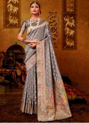 Grey Banarasi Silk Festival Designer Traditional Saree