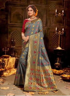 Grey Banarasi Silk Weaving Trendy Saree