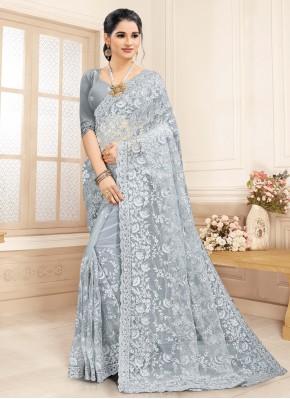 Grey Ceremonial Net Contemporary Saree