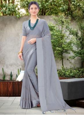 Grey Chiffon Satin Stone Work Classic Designer Saree