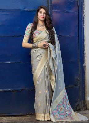 Grey Color Contemporary Saree