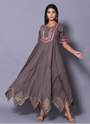 Grey Color Designer Gown