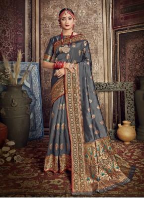 Grey Color Traditional Saree